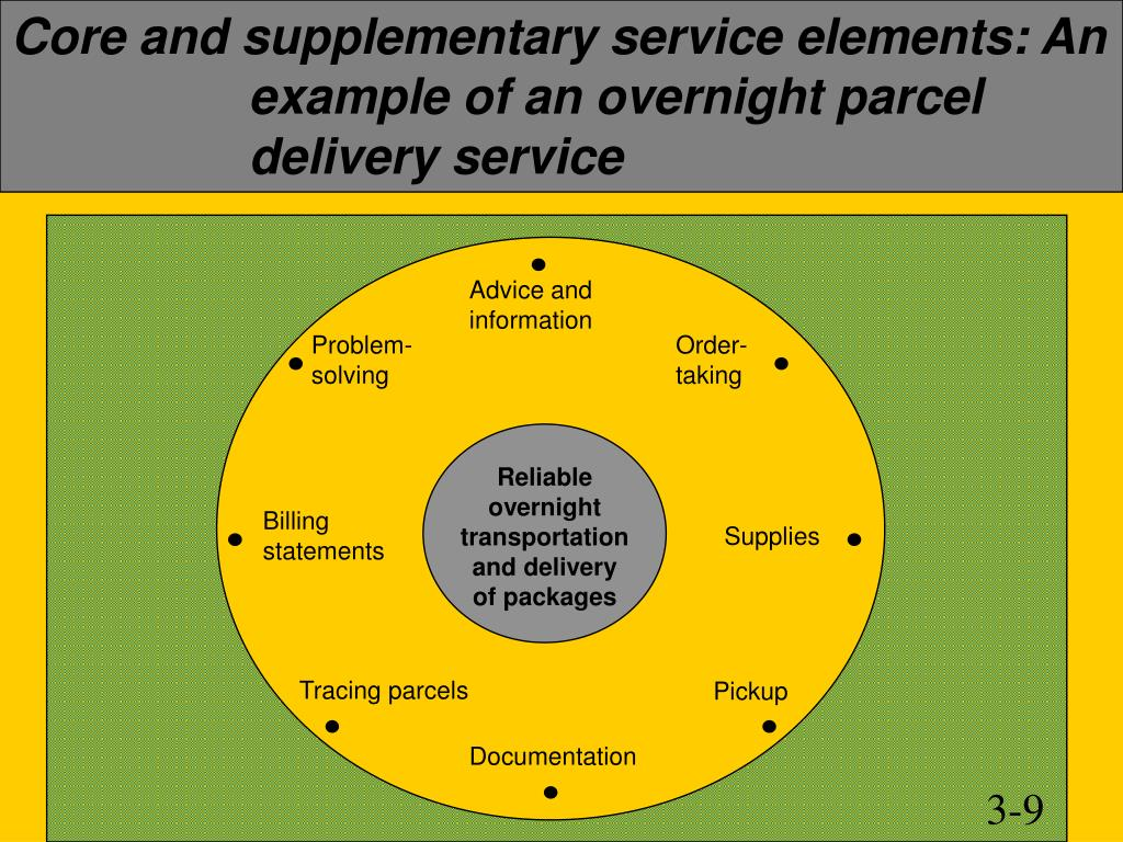 Core and supplementary service elements: An example of an overnight parcel delivery service