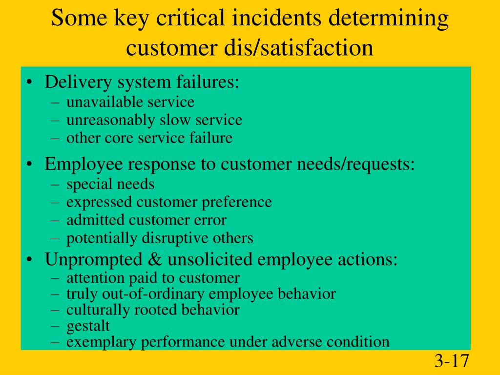 Some key critical incidents determining customer dis/satisfaction