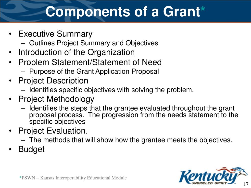 Components of a Grant