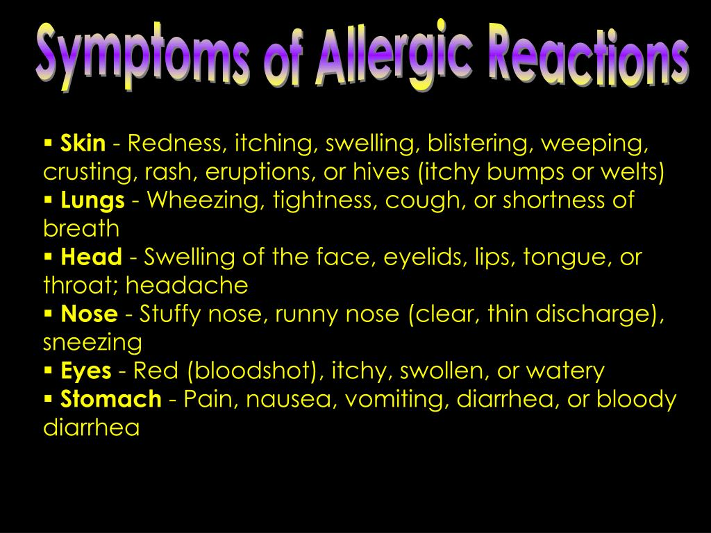 Symptoms of Allergic Reactions