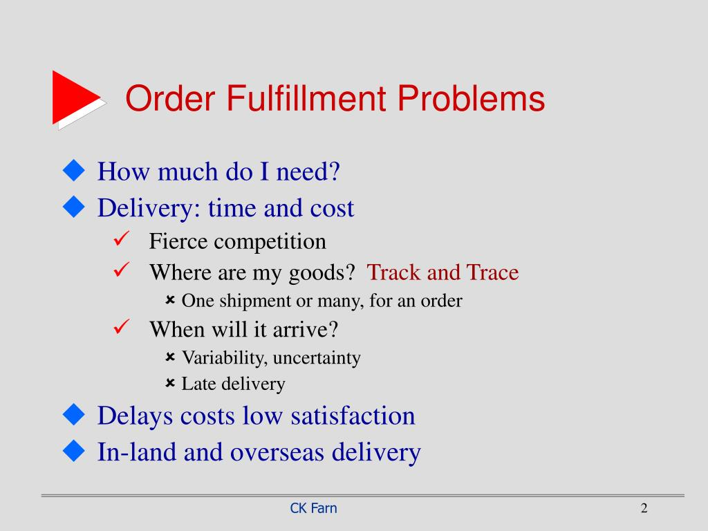 Order Fulfillment Problems