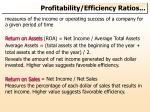 profitability efficiency ratios