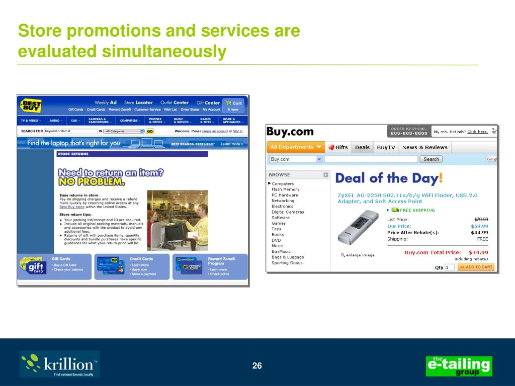 Store promotions and services are