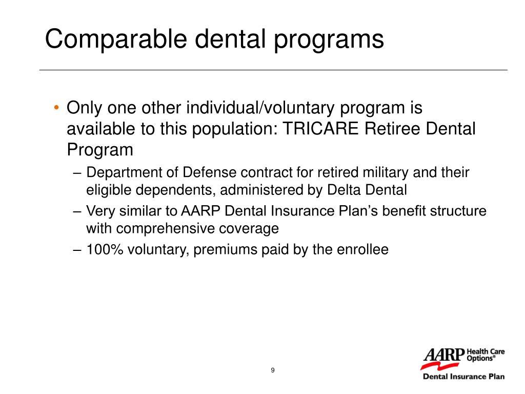 Comparable dental programs