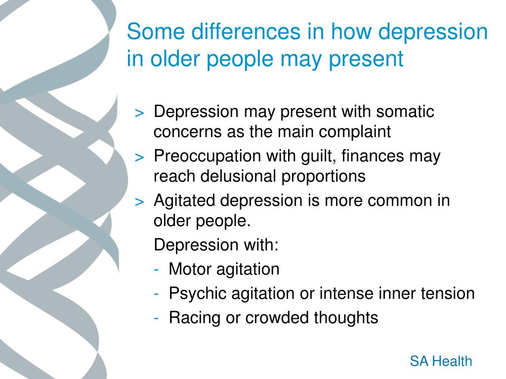 Some differences in how depression in older people may present