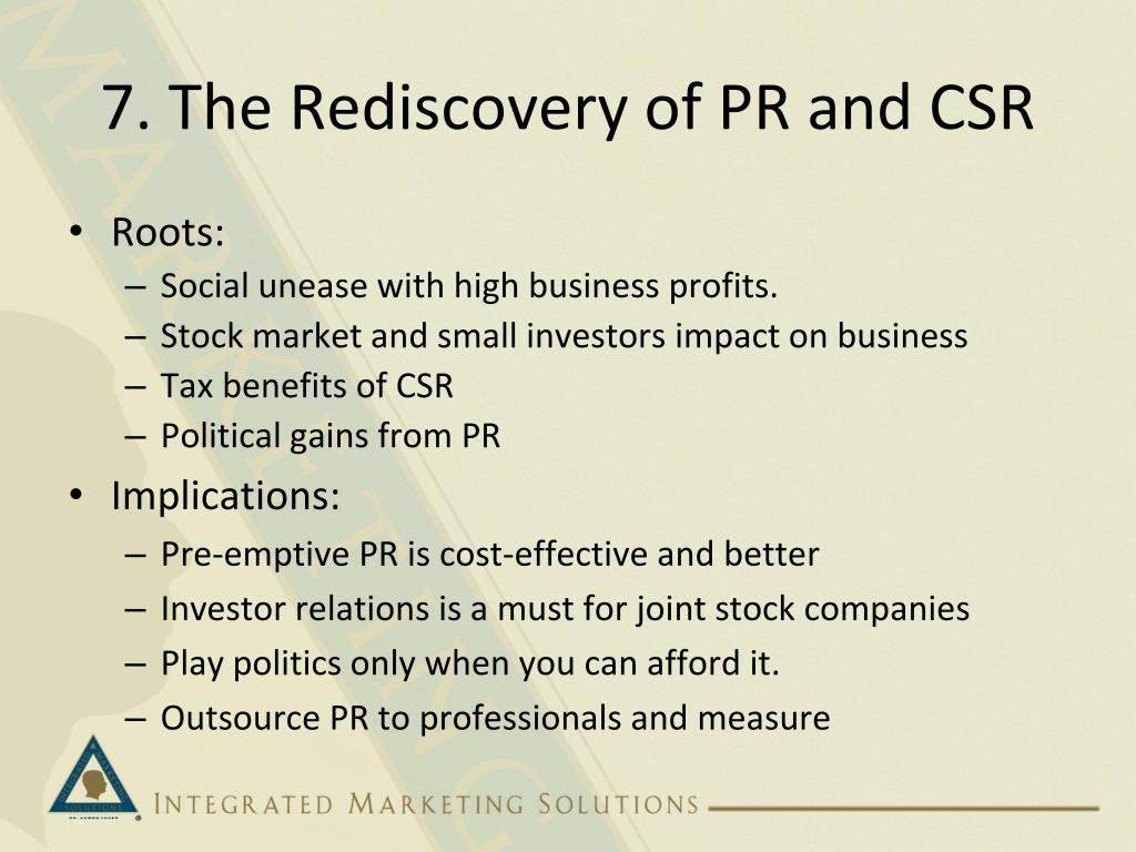 7. The Rediscovery of PR and CSR