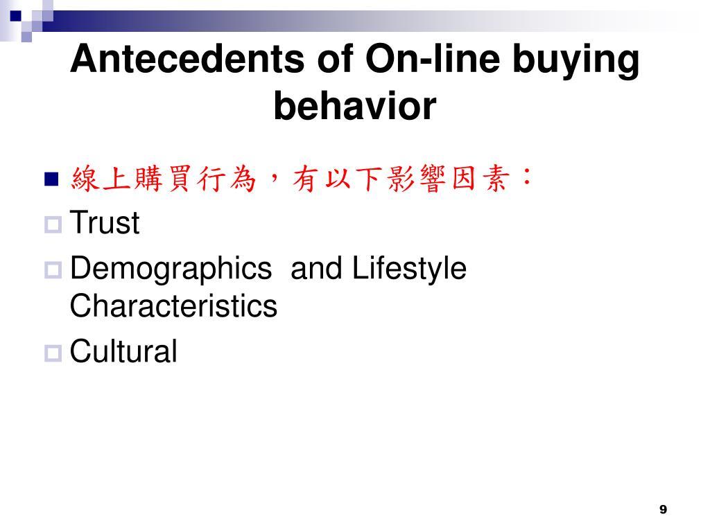 Antecedents of On-line buying behavior