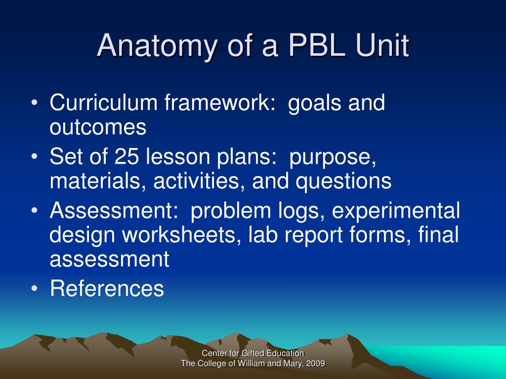Anatomy of a PBL Unit