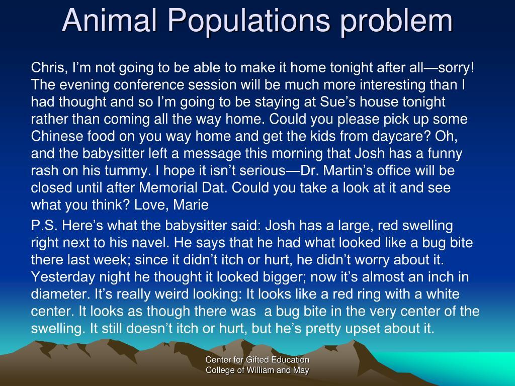 Animal Populations problem