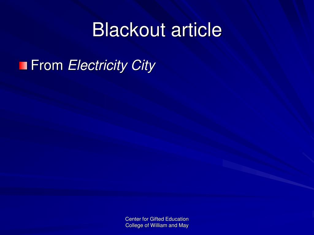 Blackout article
