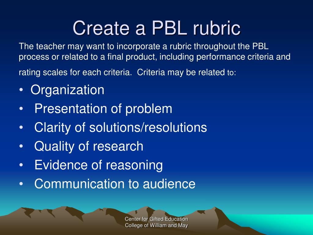 Create a PBL rubric