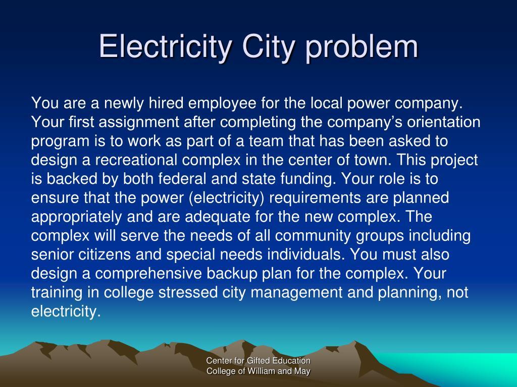 Electricity City problem