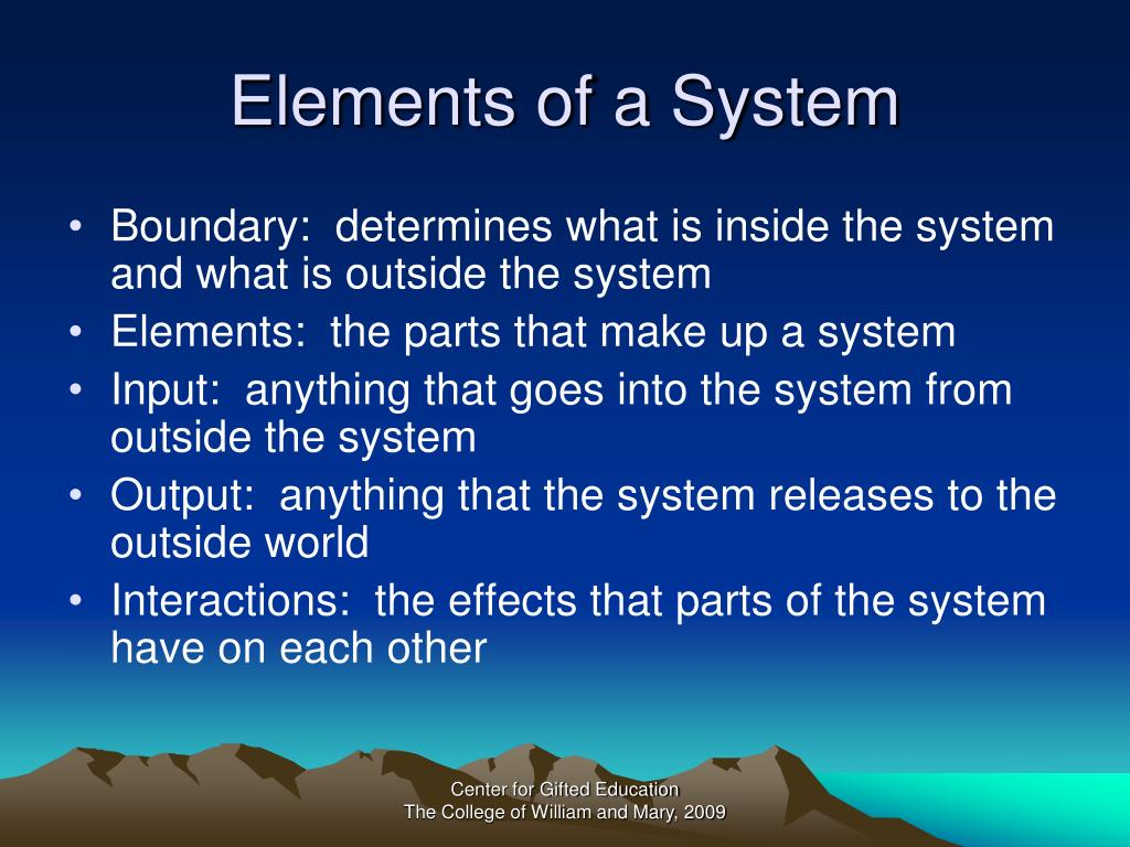 Elements of a System