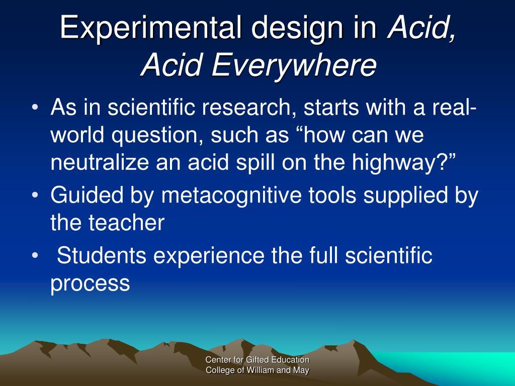 Experimental design in