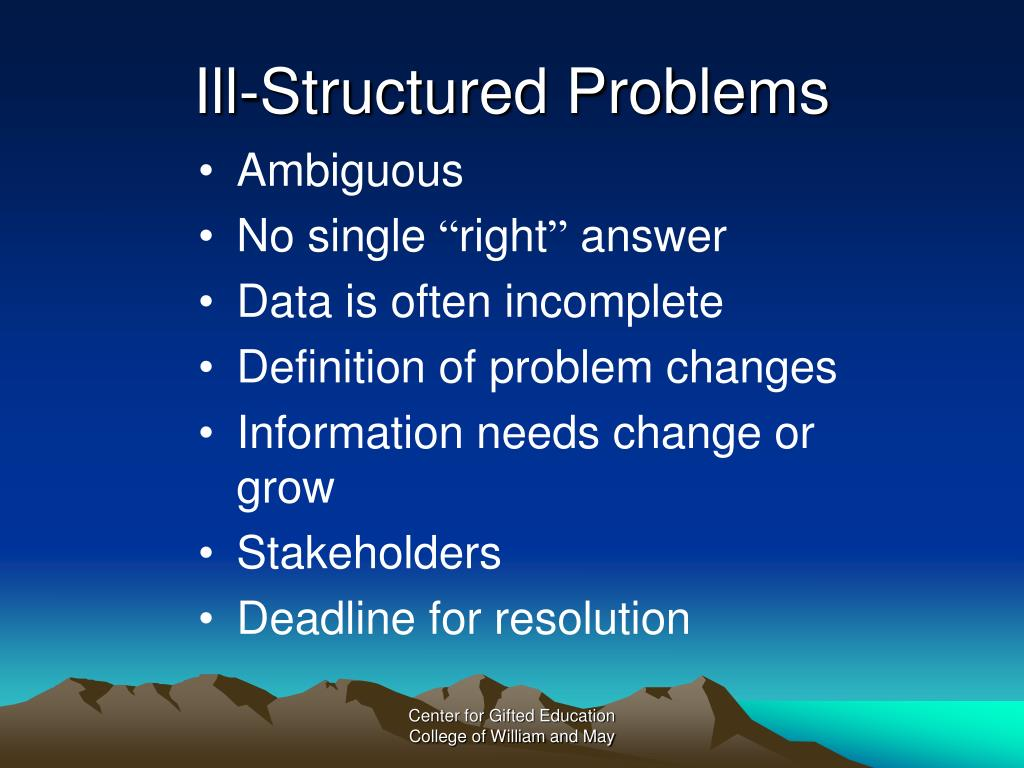 Ill-Structured Problems