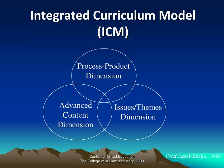 Integrated curriculum model icm