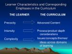 learner characteristics and corresponding emphases in the curriculum
