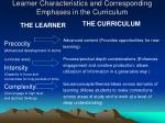 learner characteristics and corresponding emphases in the curriculum7