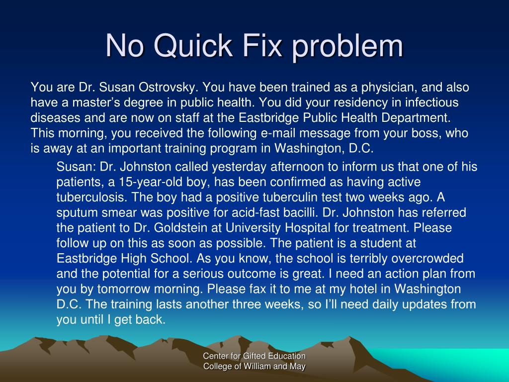 No Quick Fix problem