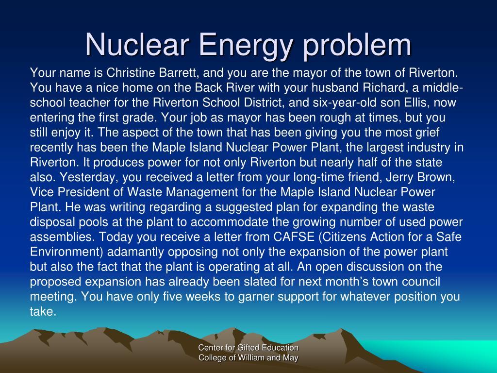 Nuclear Energy problem