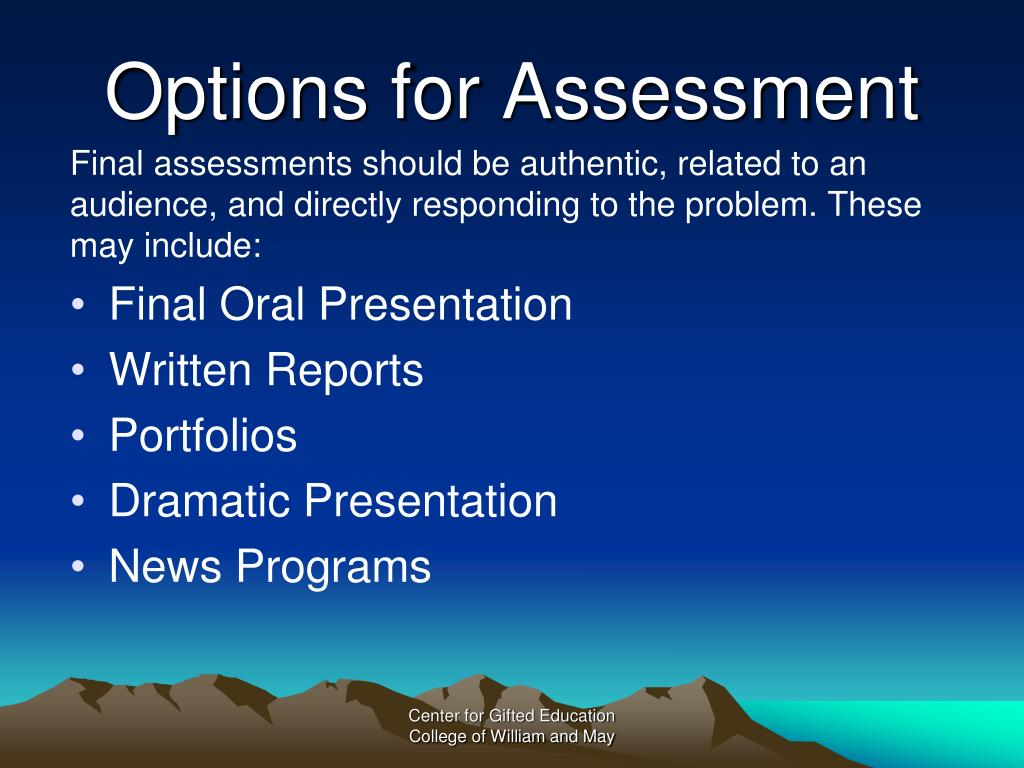 Options for Assessment
