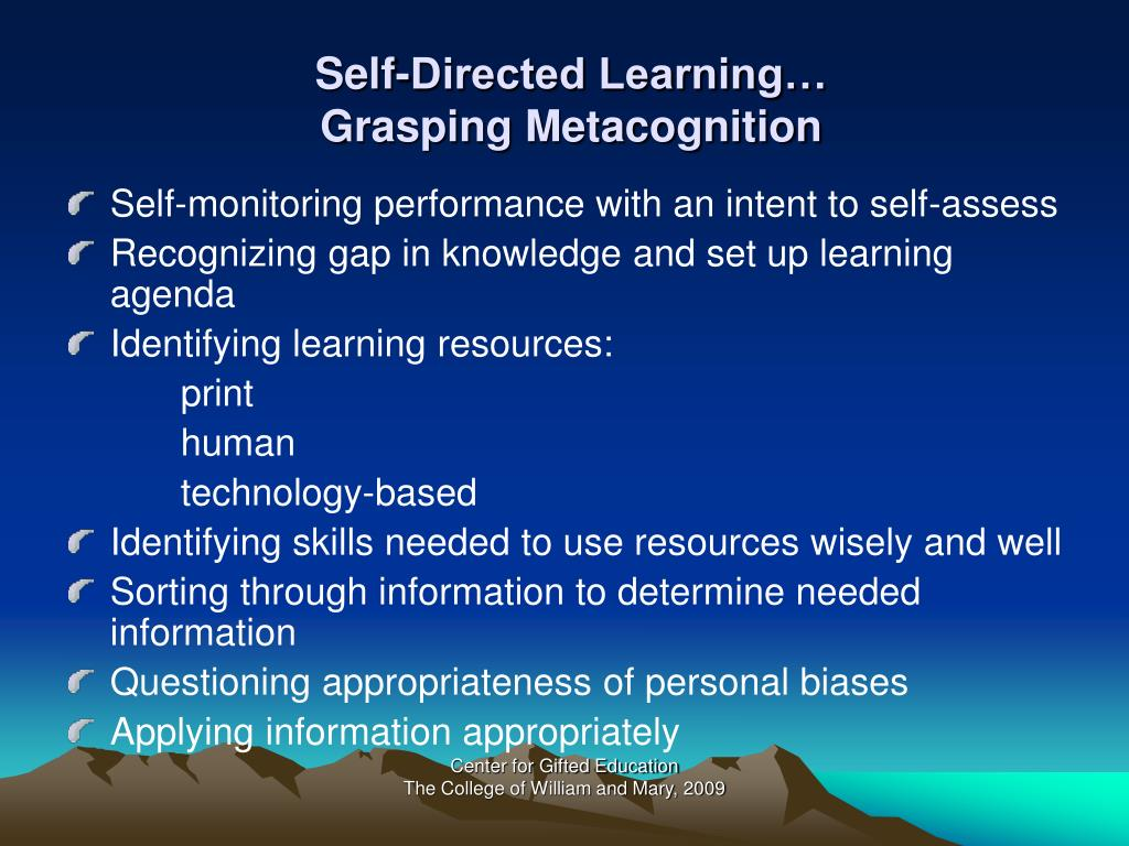 Self-Directed Learning…