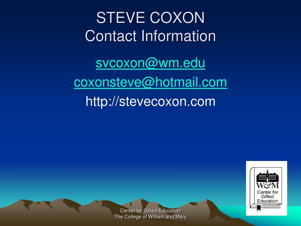 STEVE COXON