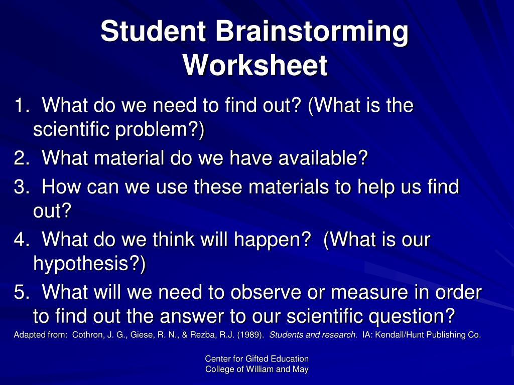 Student Brainstorming Worksheet