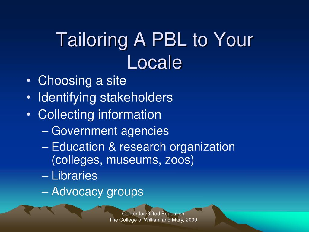 Tailoring A PBL