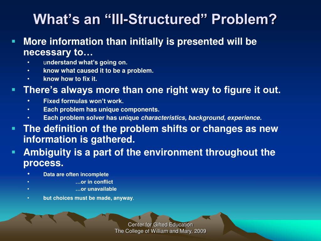 "What's an ""Ill-Structured"" Problem?"