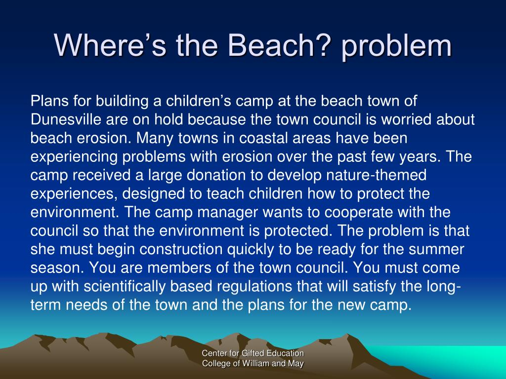 Where's the Beach? problem