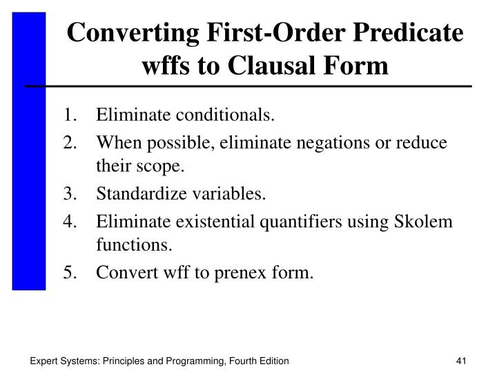 Converting First-Order Predicate wffs to Clausal Form