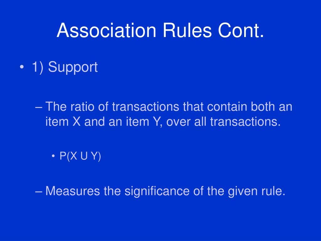 Association Rules Cont.