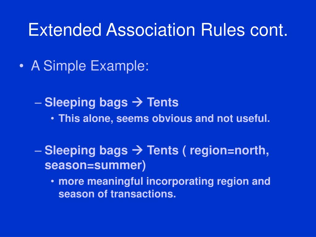 Extended Association Rules cont.