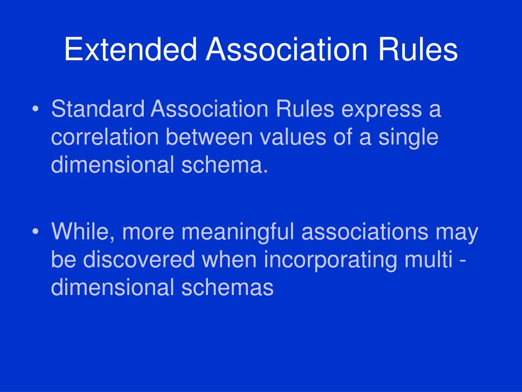Extended Association Rules