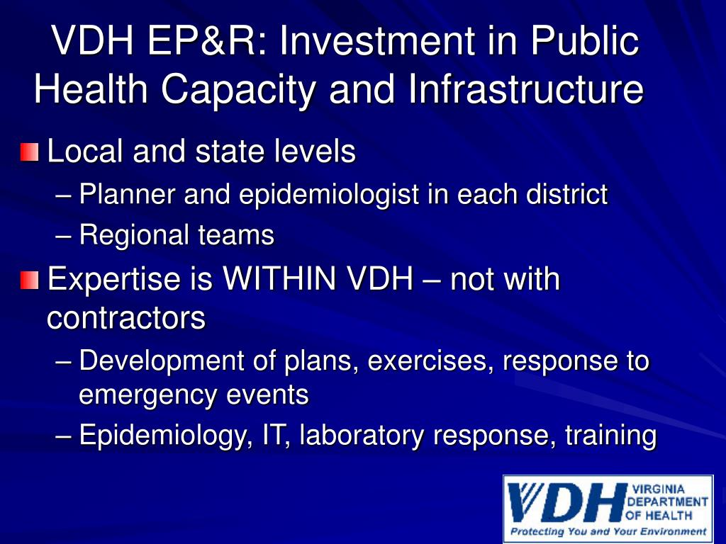 VDH EP&R: Investment in Public Health Capacity and Infrastructure