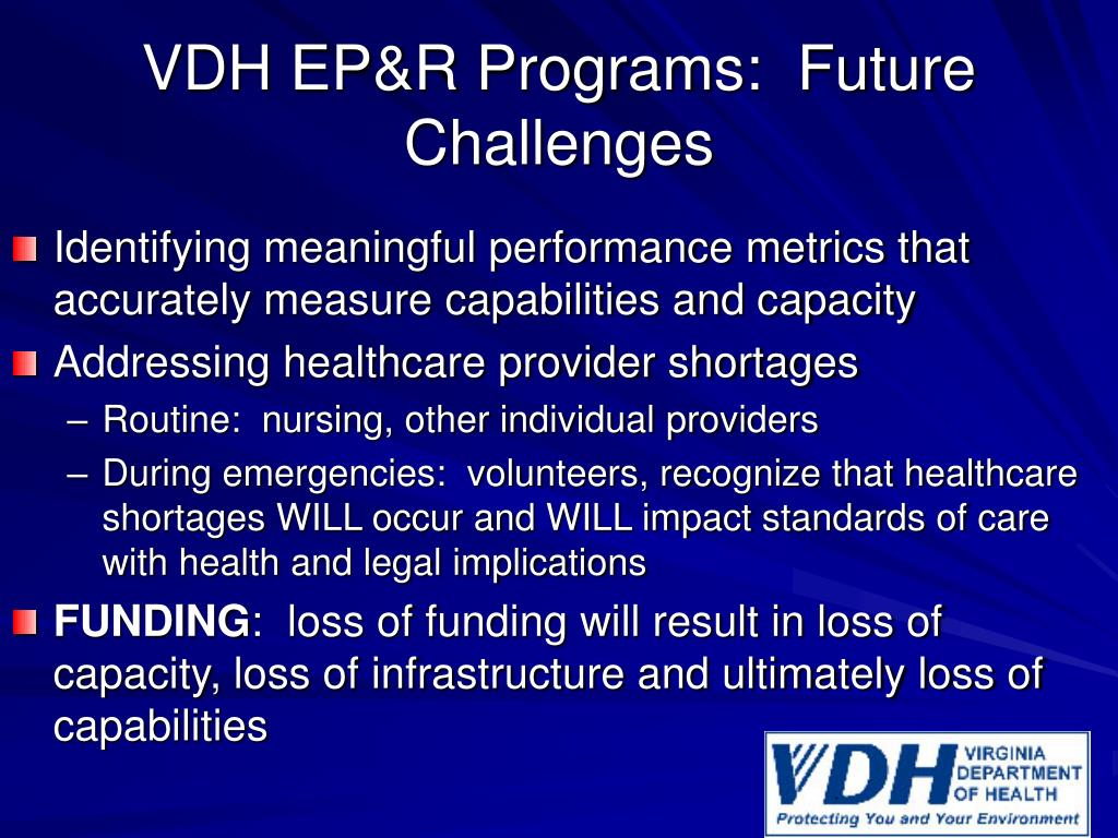 VDH EP&R Programs:  Future Challenges