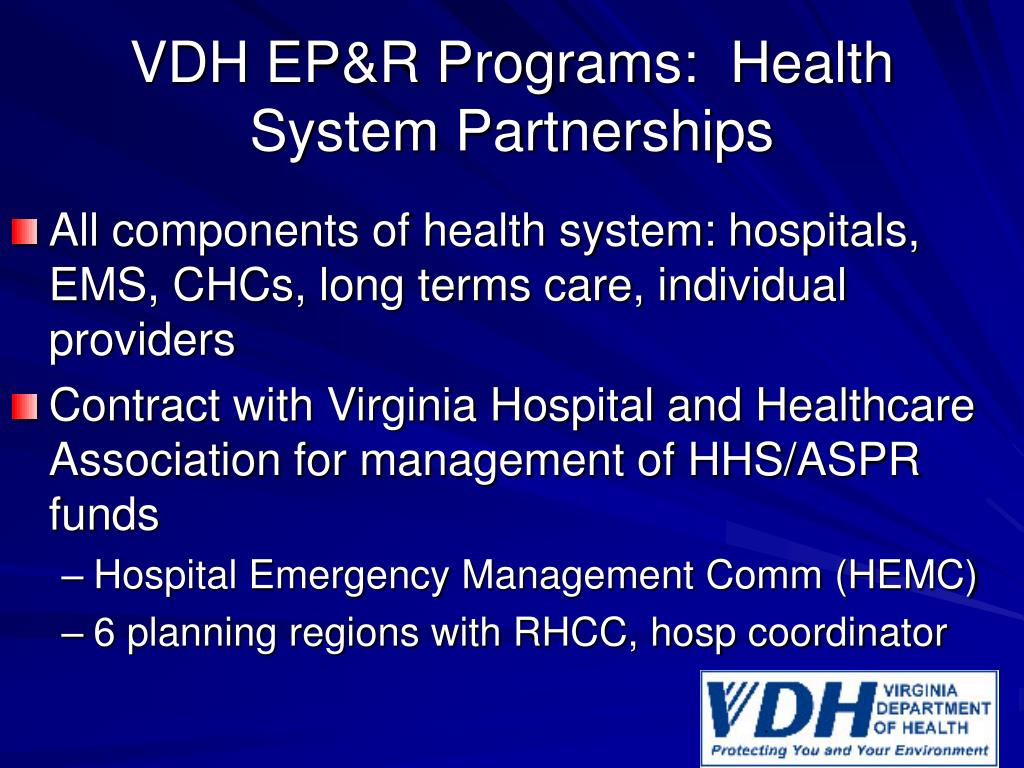 VDH EP&R Programs:  Health System Partnerships