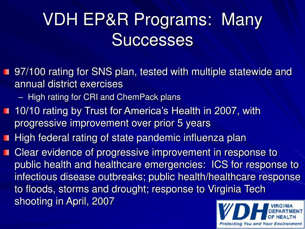 VDH EP&R Programs:  Many Successes