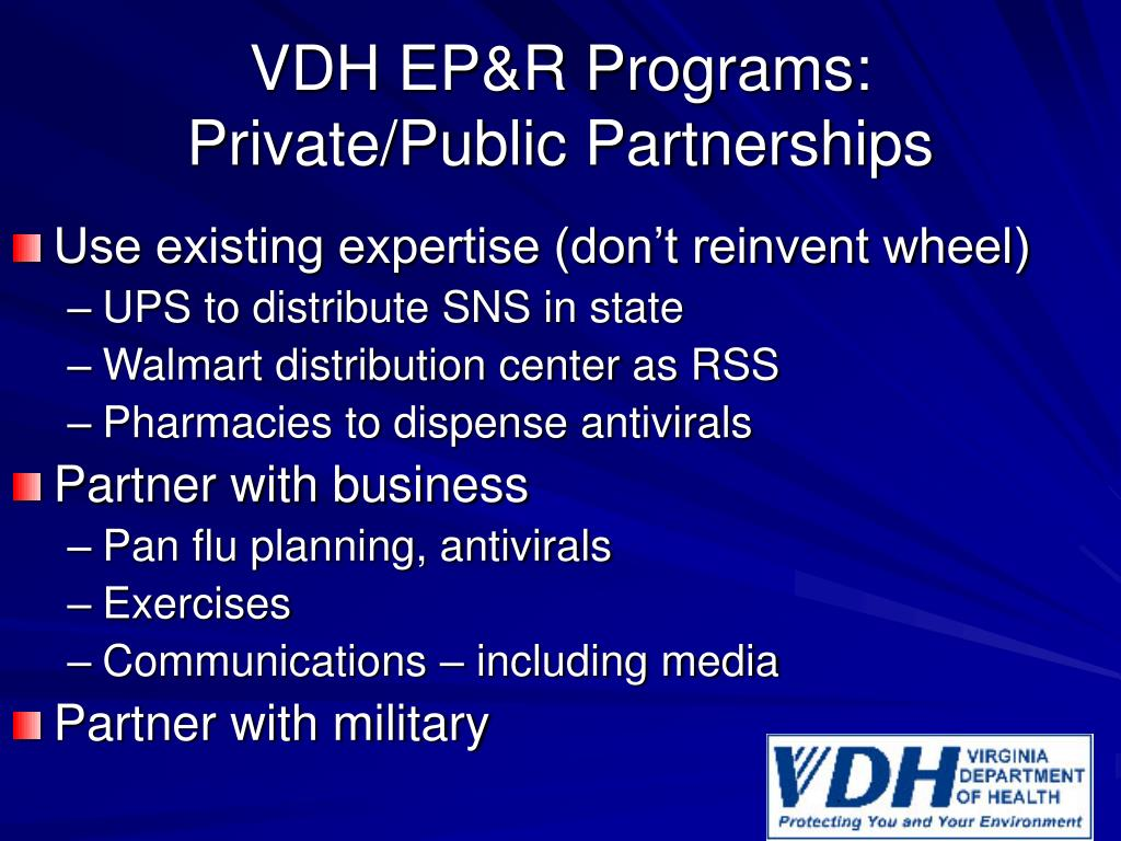 VDH EP&R Programs:  Private/Public Partnerships