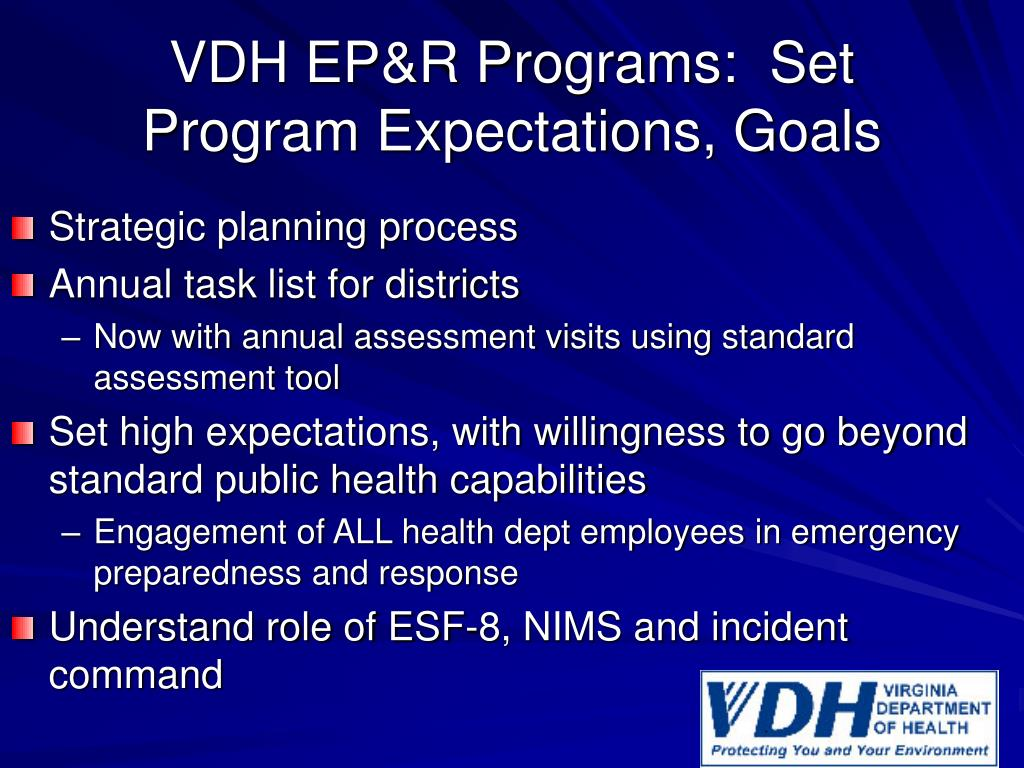 VDH EP&R Programs:  Set Program Expectations, Goals