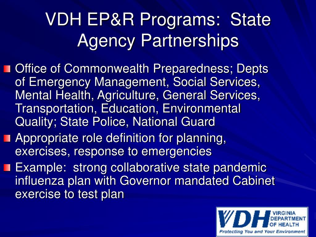 VDH EP&R Programs:  State Agency Partnerships