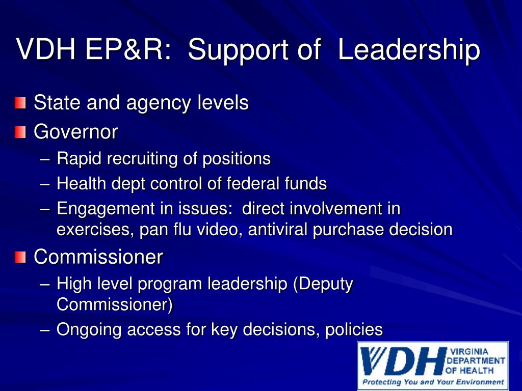 VDH EP&R:  Support of  Leadership