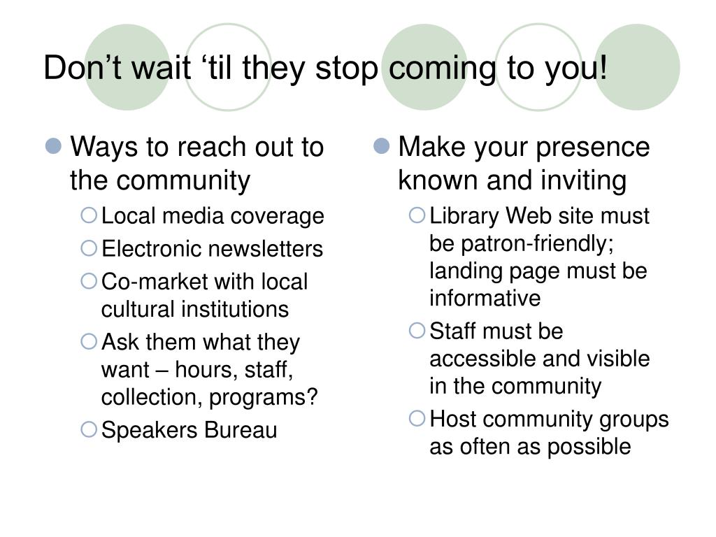 Ways to reach out to the community