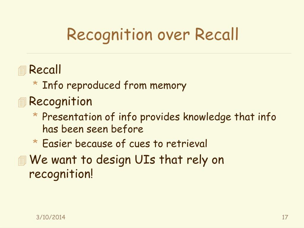 Recognition over Recall