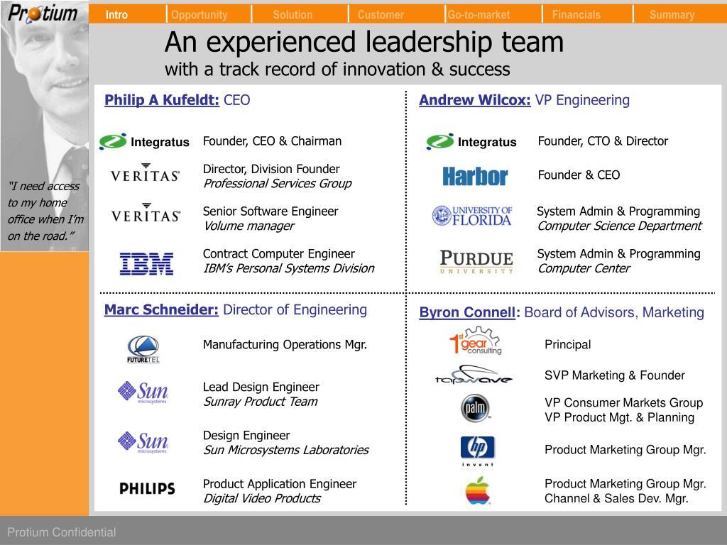 An experienced leadership team