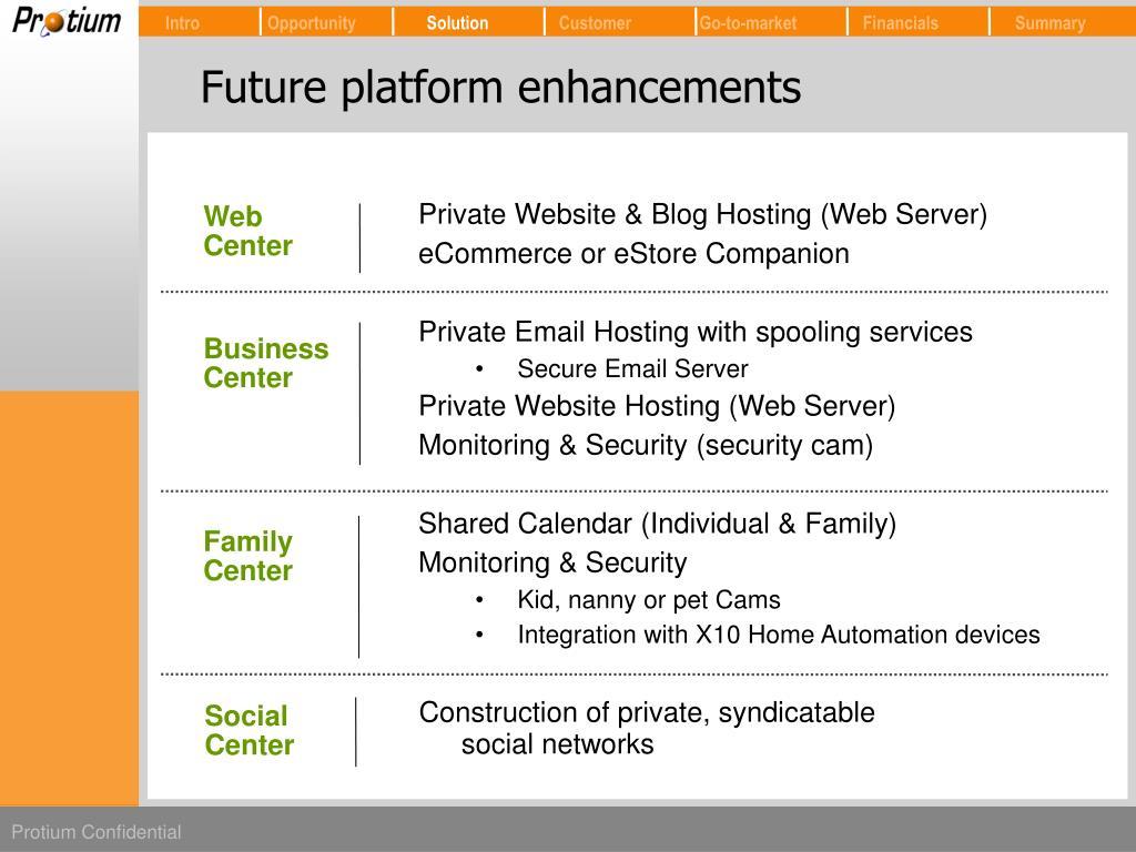 Future platform enhancements