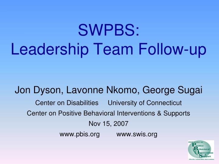 Swpbs leadership team follow up
