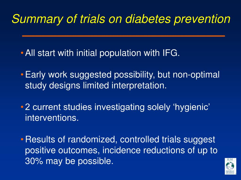 Summary of trials on diabetes prevention