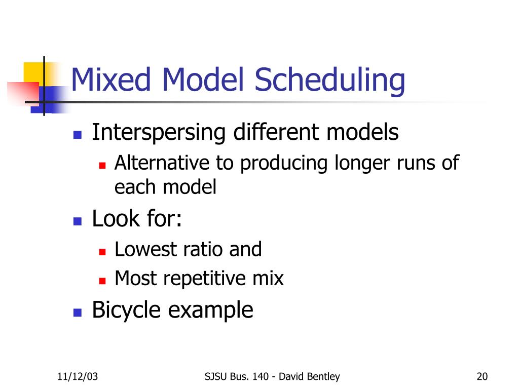 Mixed Model Scheduling